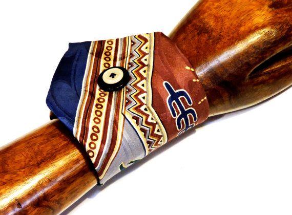 Southwest Silk Tie Wrist Cuff Original Handmade Wide Necktie