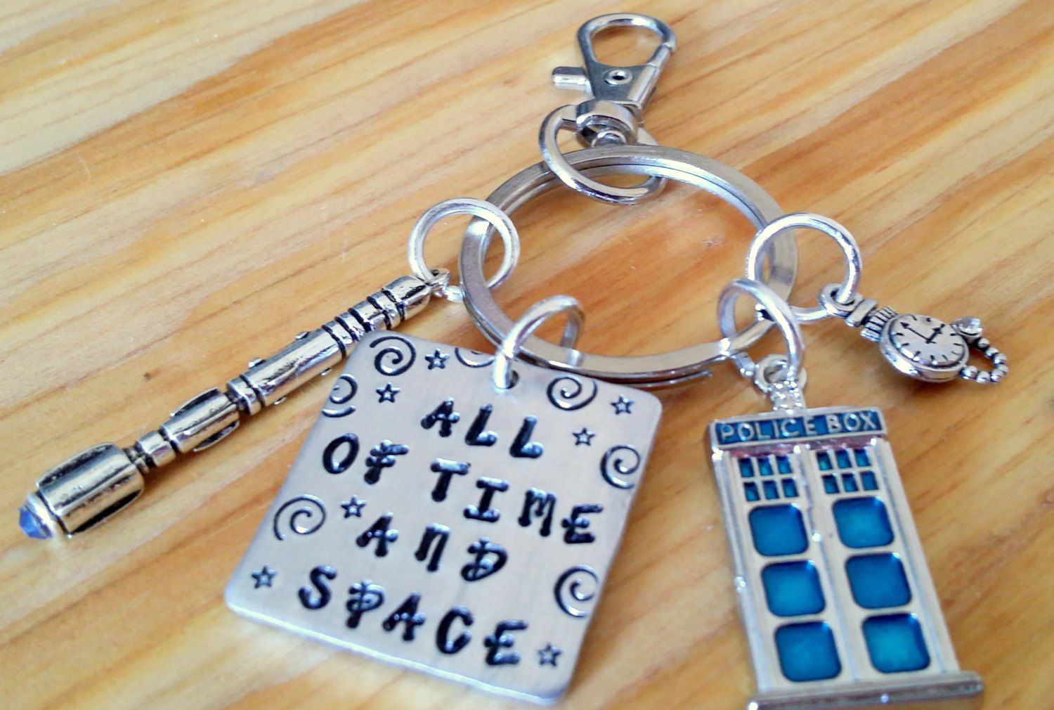 Hand Stamped Doctor Who Inspired All Of Space and Time Key Chain with Tardis and Sonic Screwdriver Charms by BlueMoonFlowerDesign on Etsy