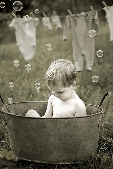 """""""Wash Day"""" - I still have memories of taking my bath in an old metal tub in my…"""