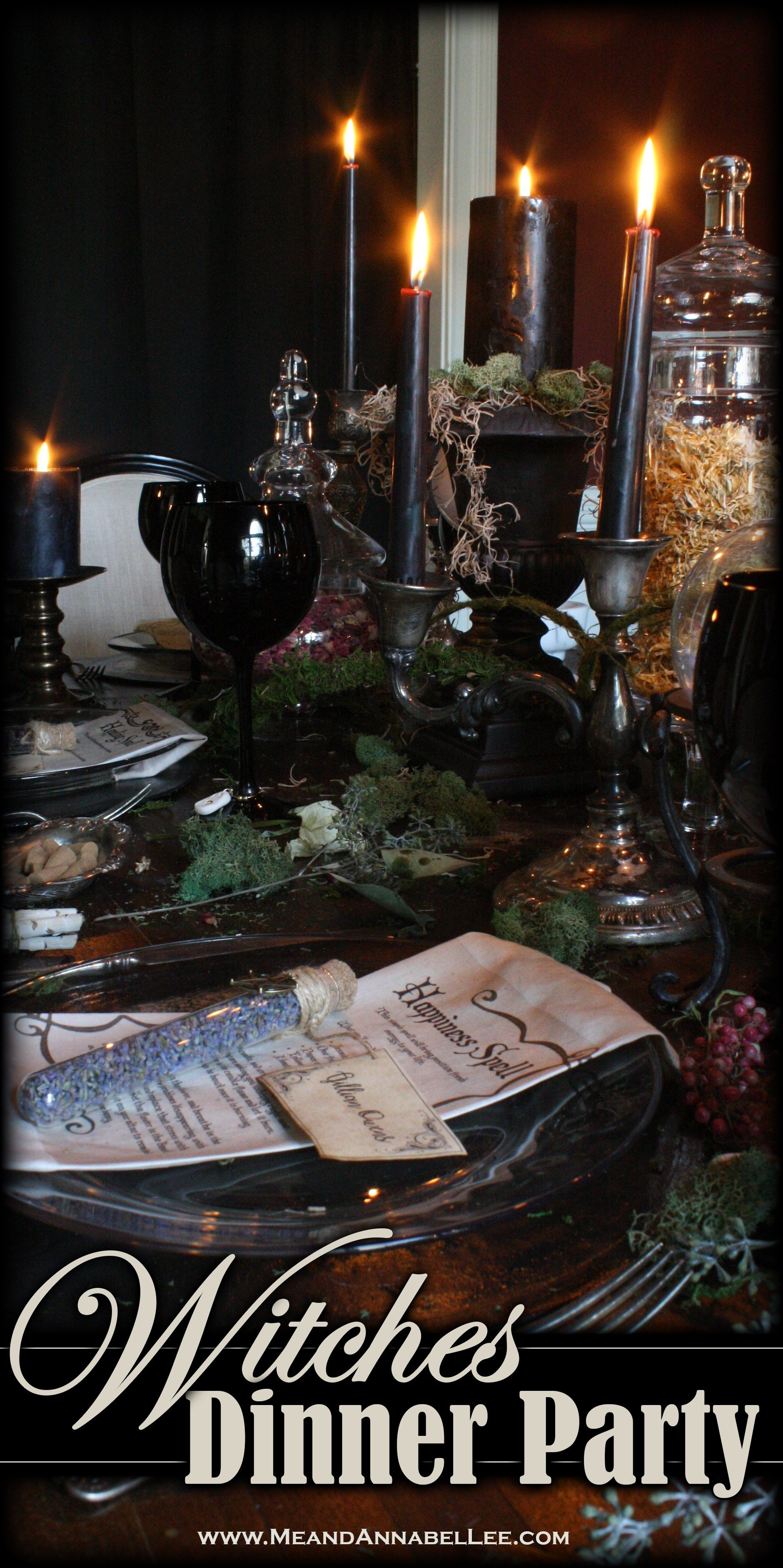 Witches' Dinner Party | Halloween Table | Samhain Celebration | Me and Annabel Lee #eleganthalloweendecor