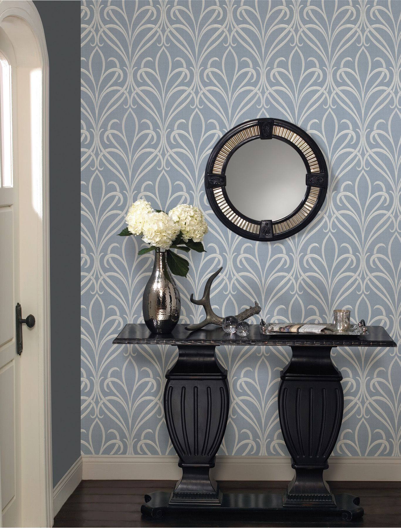 Living Room Feature Wall Designs: Ultra Pretty Blue And White Nouveau Damask Wallpaper