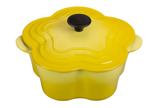 Le Creuset's flower cocotte. Back in stock for a limited time.