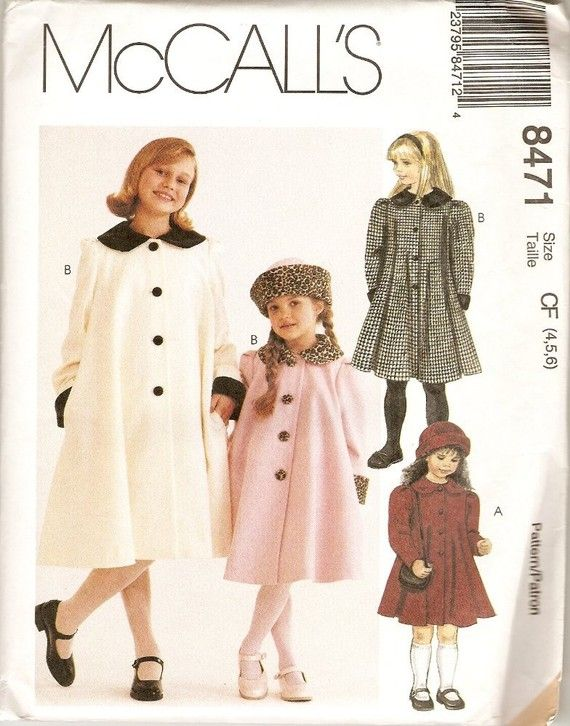 Girls Classic A Line COAT and HAT in 3 sizes by CuttingBack, $9.50