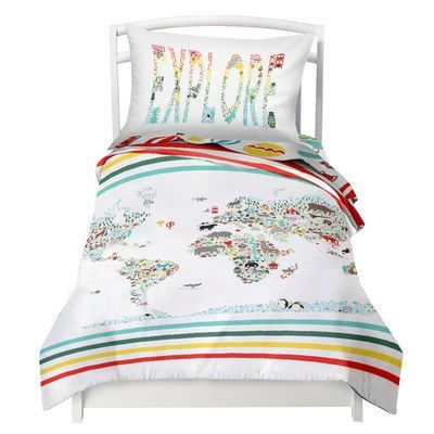 Where the Polka Dots Roam World Map / Explorer Reversible Duvet Cover Set Size: Twin