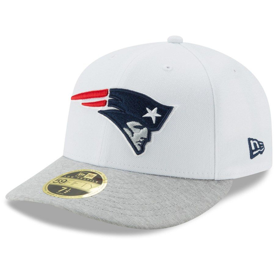 dceb858528dd0 Men s New England Patriots New Era White Heathered Gray Tech Sweep Low  Profile 59FIFTY Fitted Hat
