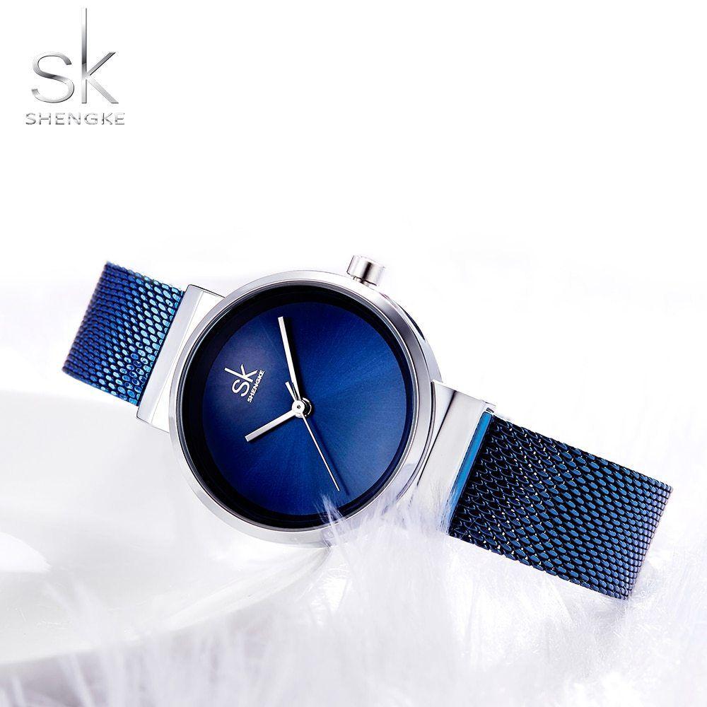 c6e548a75f1 Shengke Blue Wrist Watch Women Watches Luxury Brand Steel Ladies Quartz  Women Watches 2018 Relogio Feminino