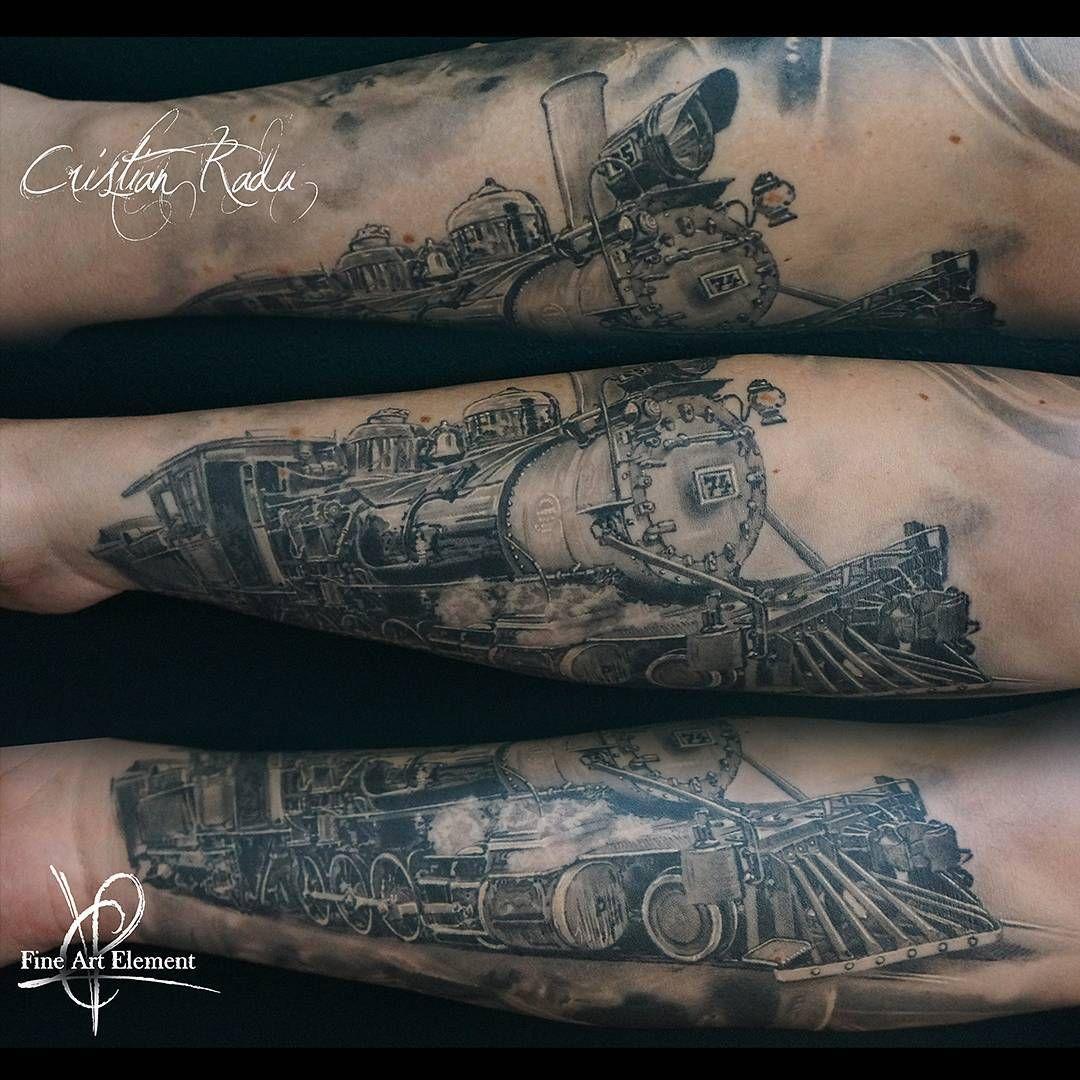 Tool box tattoo by mark old school tattoos by mark pinterest - Old Train Realistic Black White Tattoo By Cristian Radu Tattoo Artist
