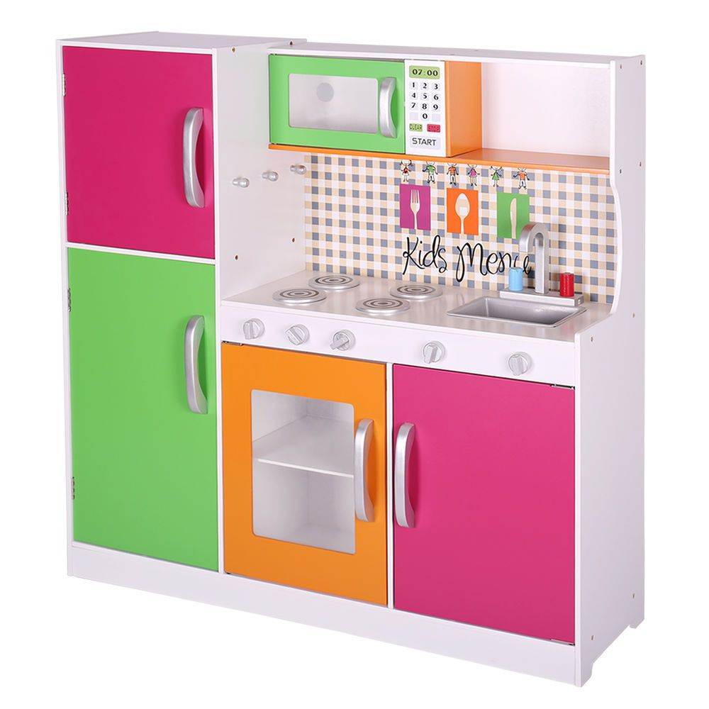 c9597cf5eccc Pretend Kids Play Kitchen Toy Play set Cooking Set Wood Toddler Gift New  Deluxe  Hoddmimis