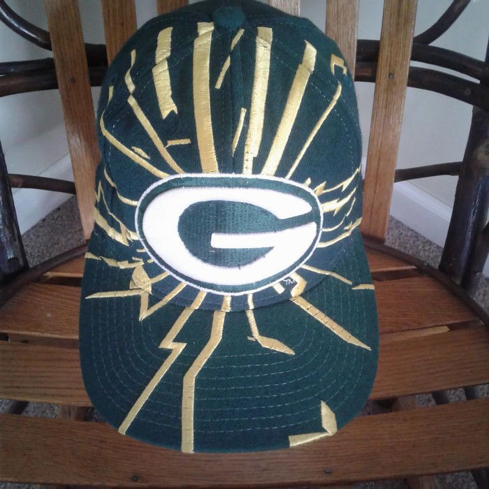 beee17f28b8 Starter Green Bay Packers Hat Lightening Bolt Shock Wave Collision Snapback  Cap