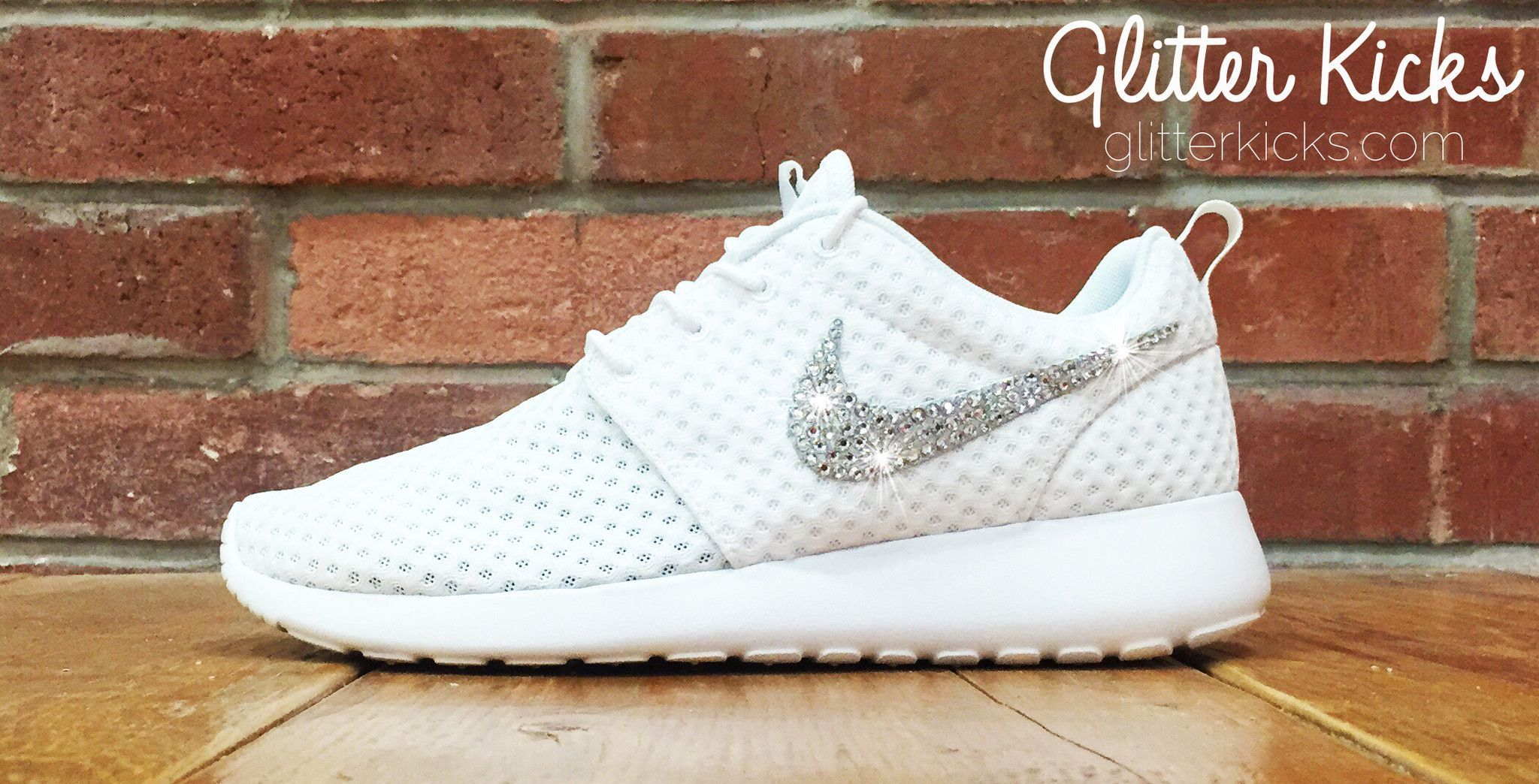 Women s Nike Roshe One Breeze Casual Shoes By Glitter Kicks - Customized  With Swarovski Elements Crystal Rhinestones - White White - glitter nikes ed09de570a