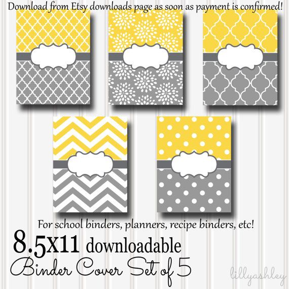 Downloadable Binder Covers Set of 5-8.5x11 JPG-Slip into clear binder covering after print! School binders, day planners, recipe books etc!