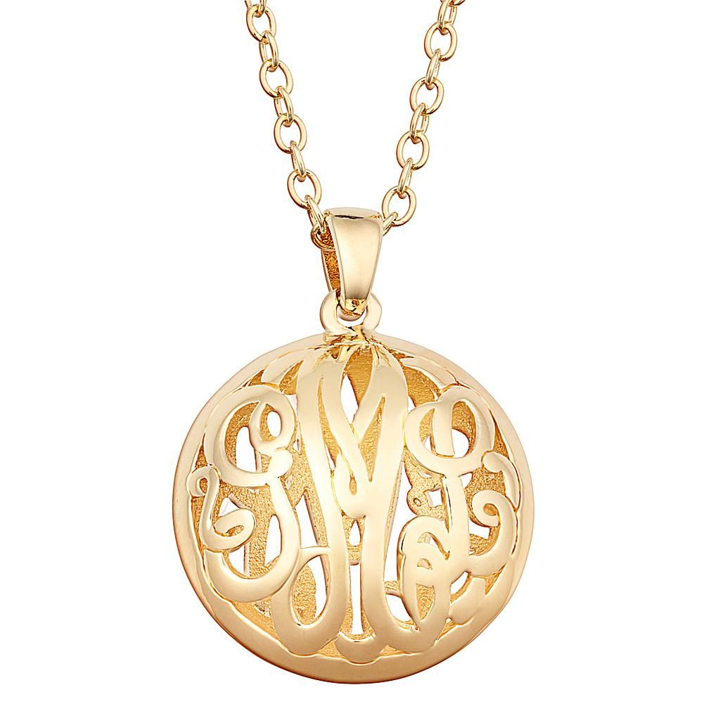 7c6726f6f CPS Sterling Silver Double Sided 18x18mm Round Monogram Pendant Necklace -  Metallic