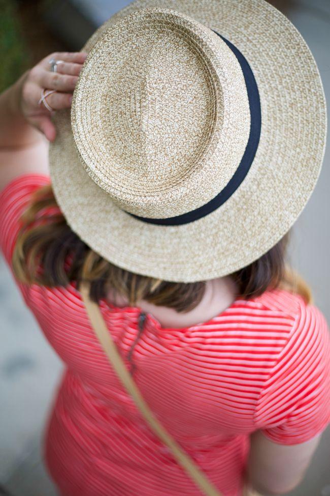 25fd02fe9f91a Mae Amor- red stripe t-shirt dress, boater hat, crossbody bag, embellished  sandals, ombre hair