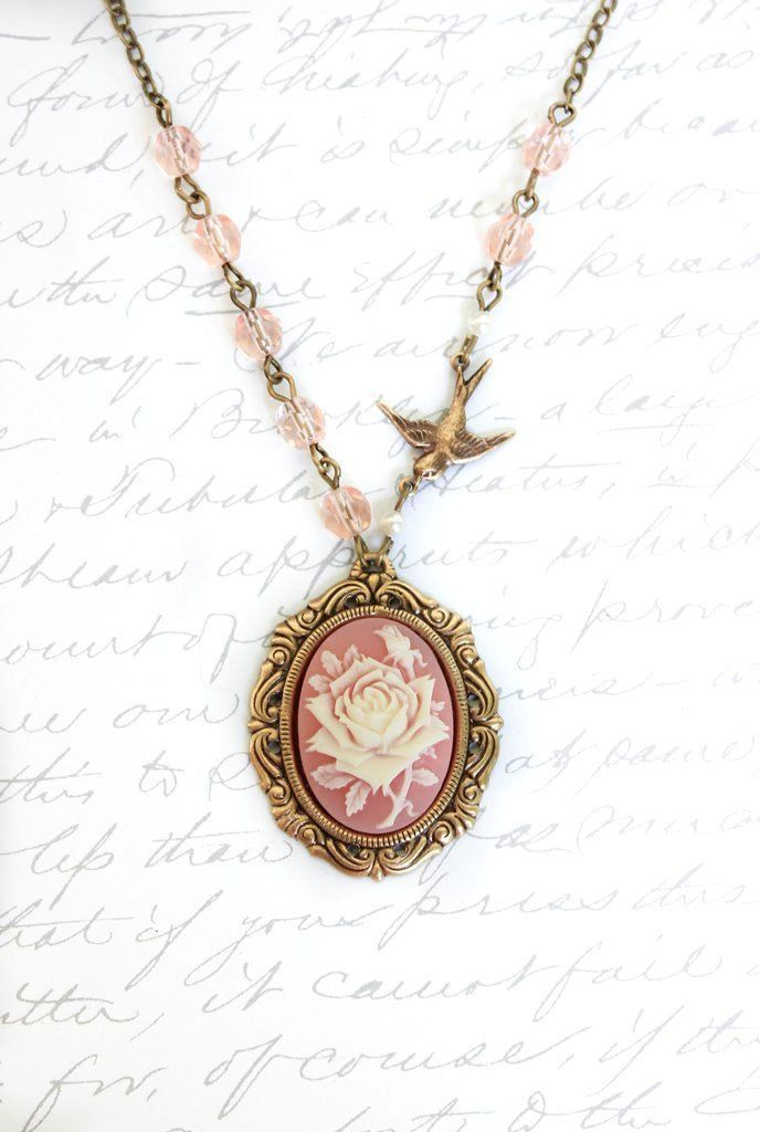 sweet cameos pinterest cameo necklace pink roses pink cameo necklace ivory and pink rose pendant rose necklace bird charm pink glass beaded chain romantic vintage style jewellery audiocablefo light ideas