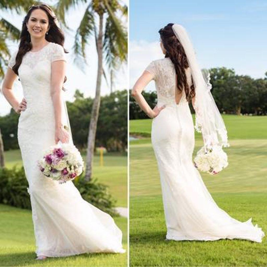 16985c1b31053 White by Vera Wang Short Sleeve Lace Wedding Dress Style VW351312 ...