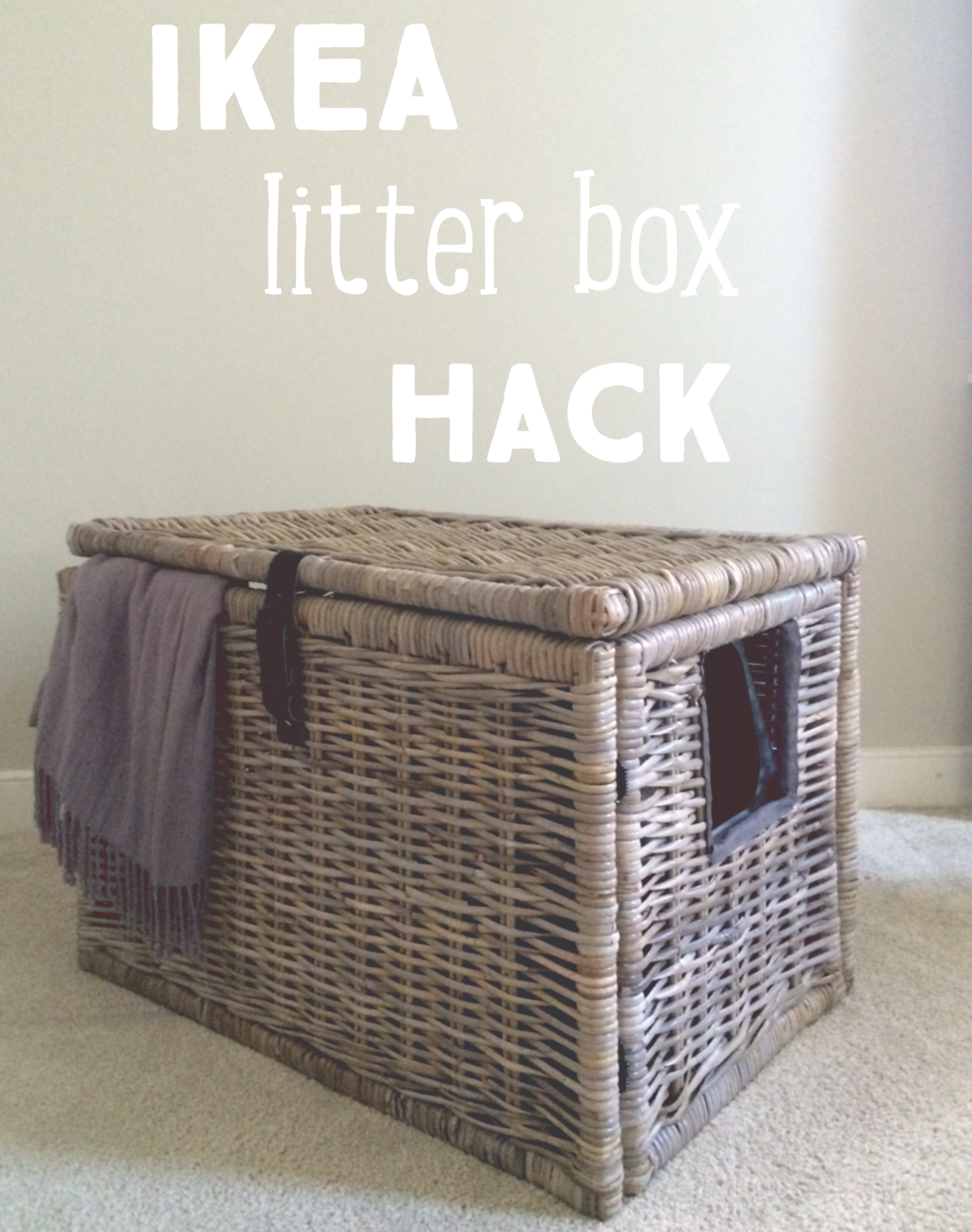 super easy ikea hack turn wicker chest into a secret litter box hide out ikea pinterest. Black Bedroom Furniture Sets. Home Design Ideas