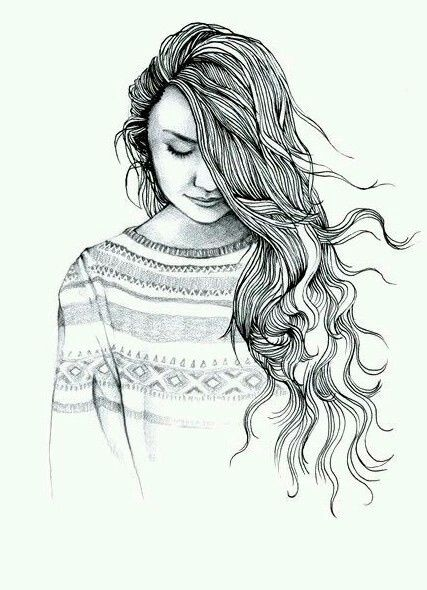 Alone art drawing dress fashion hair love sad style