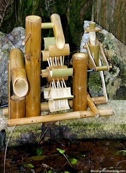 Fontaine en bambou garden pinterest fountain for Fontaine interieur zen