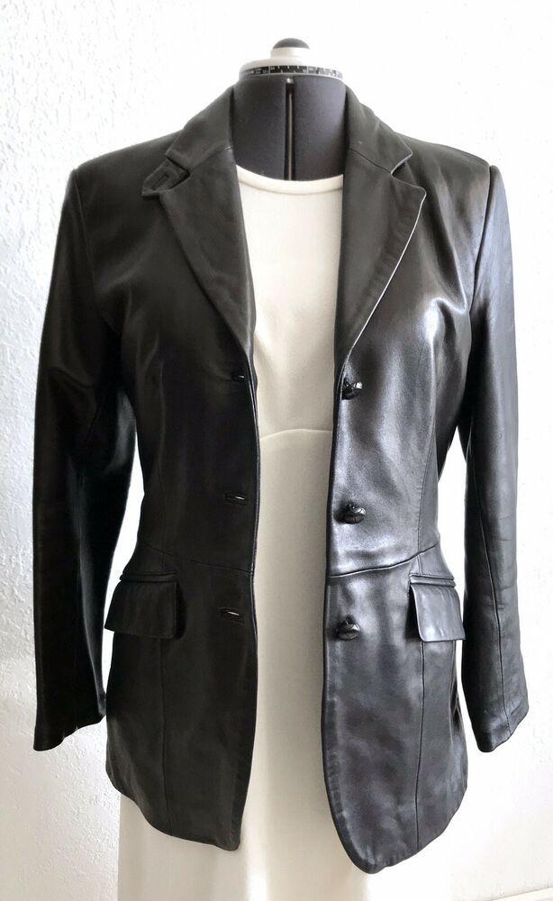 b2eda11aa6a7 Ann Taylor Black Leather Jacket Coat Blazer Womens Size 10 Medium Fitted  #AnnTaylor #Softshell