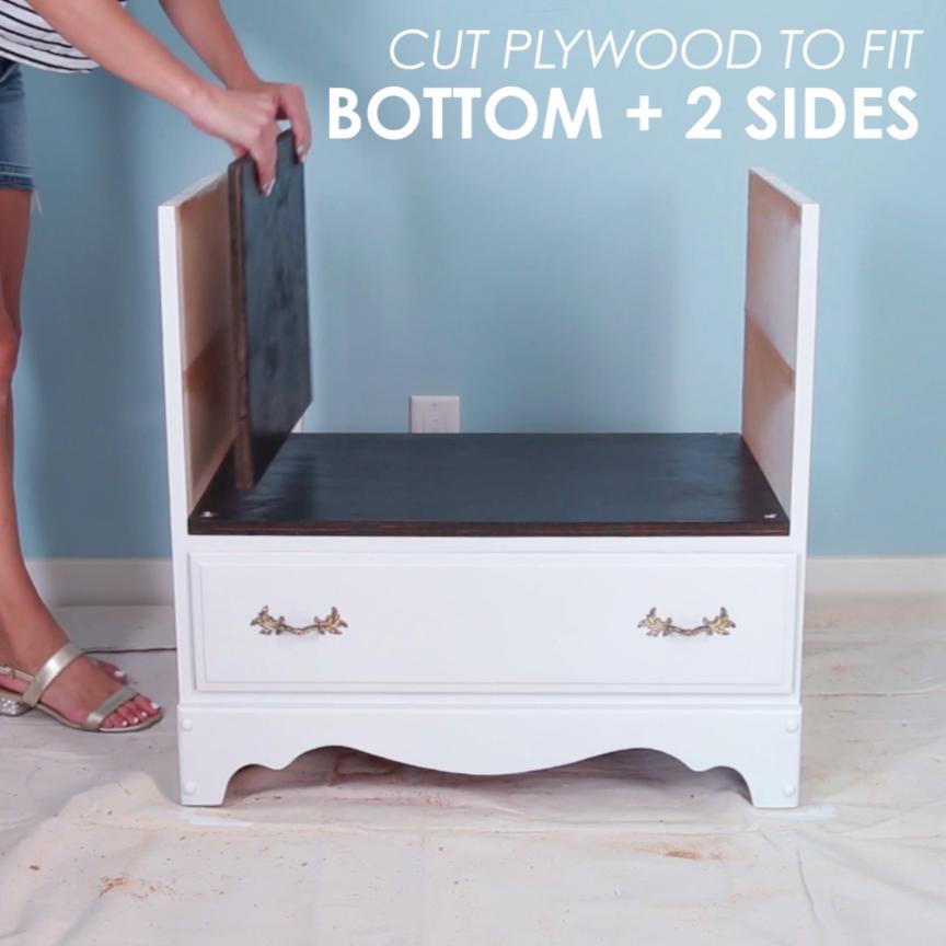 15 Creative Diy Storage Benches: Recycled Dresser Storage Bench