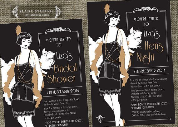 Hens night Great Gatsby 1920s Flapper Bridal Shower invitations – Great Gatsby Party Invitation