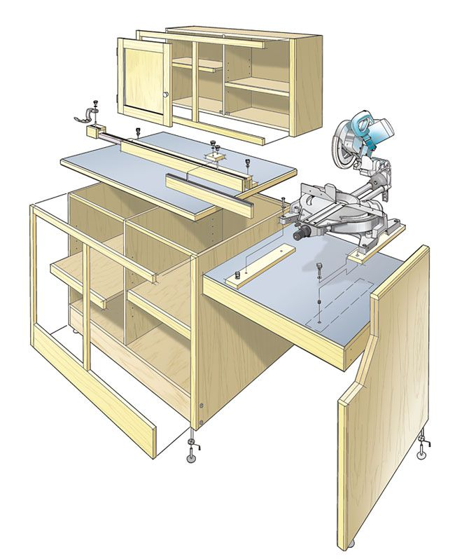Miter saw workcenter woodworking plan this woodworking plan miter saw workcenter woodworking plan this woodworking plan appeared in shopnotes magazine no 82 greentooth Images
