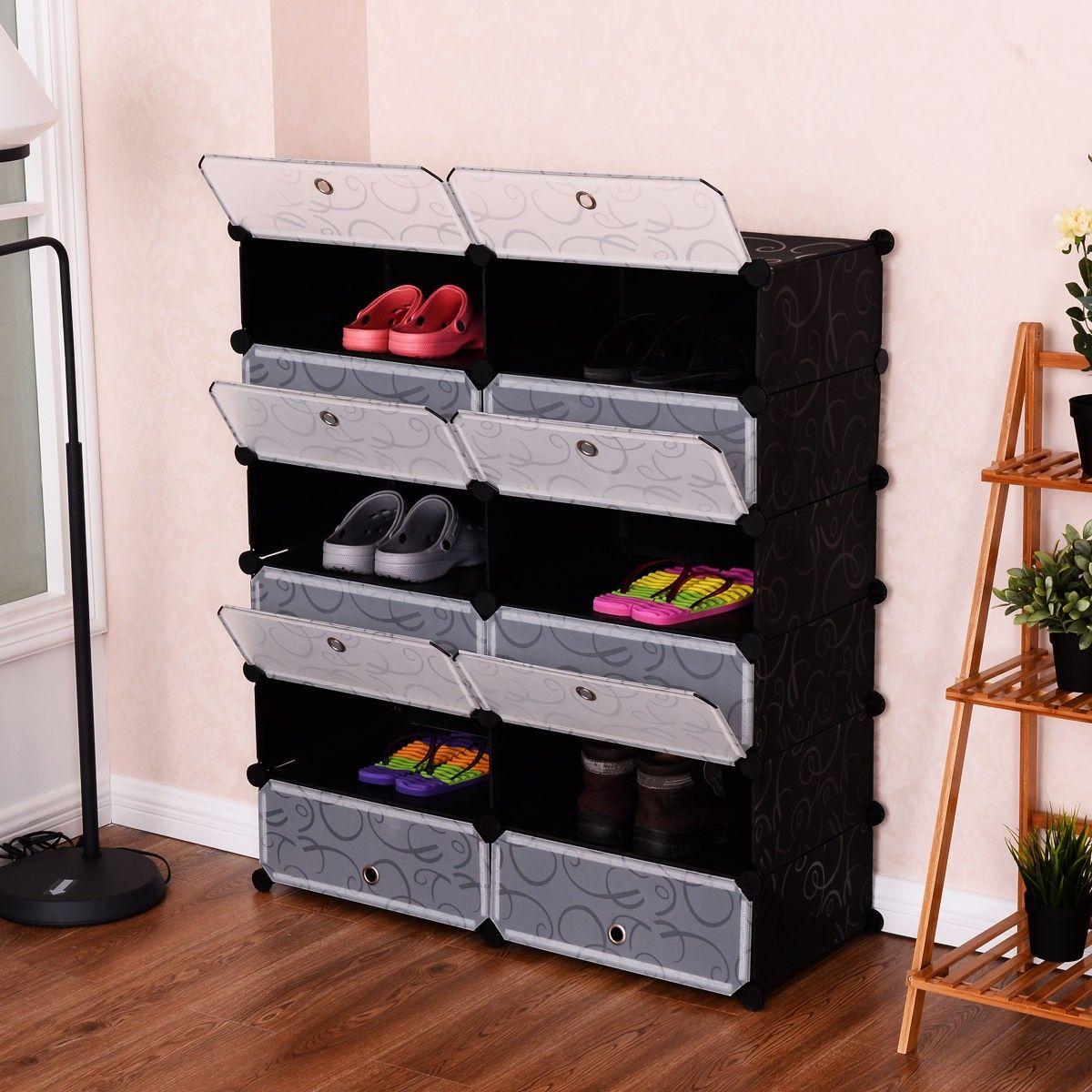 12 Cubes Portable Shoe Rack Storage Closet Organization Modern Shelving Shoe Organization Closet