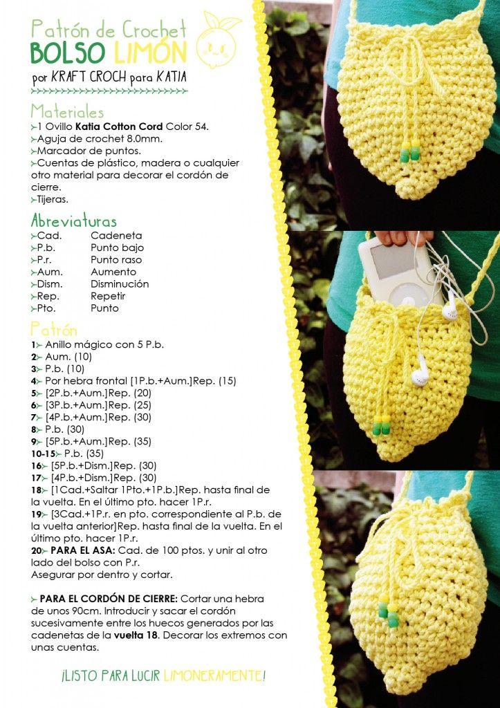 bolso patrón amigurumi crochet ganchillo limón | Trapillo ...