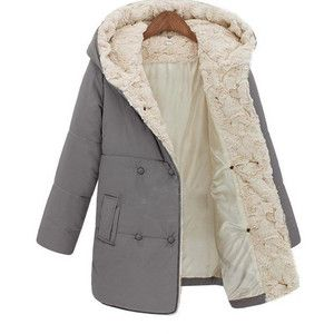Warm Double-breasted Hooded Lamb Wool Cotton Coat Grey | Looks ...