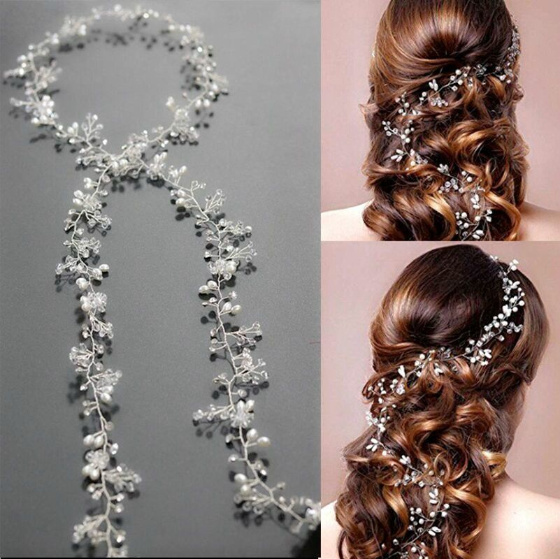b792950d0f4 Idealway Handmade Bridal Crystal Rhinestone Hair Piece Women White  Simulated-pearl DIY Jewelry Wedding Tiaras Crown Accessories