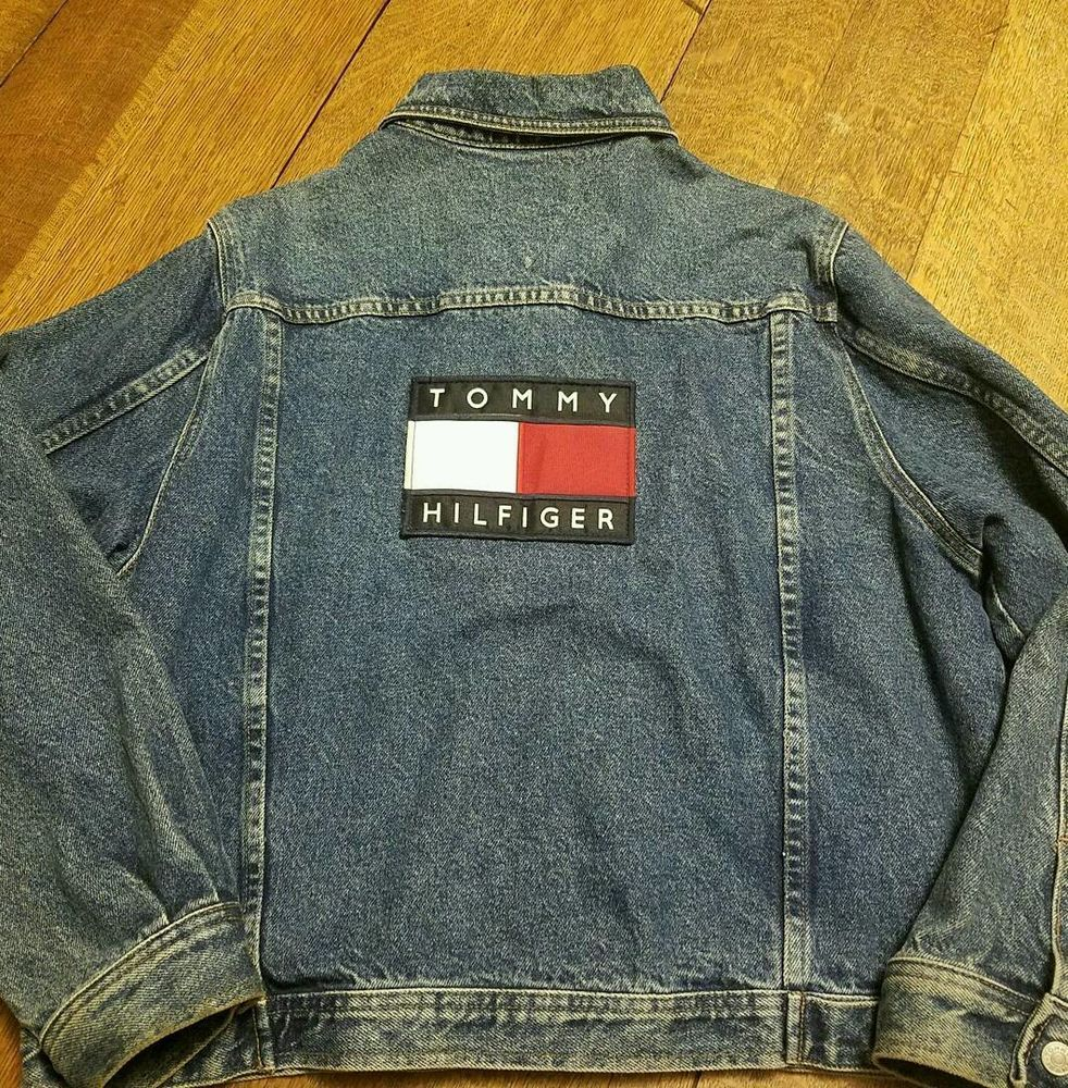 69d980137f676 vintage tommy hilfiger denim jacket large rare in Clothing