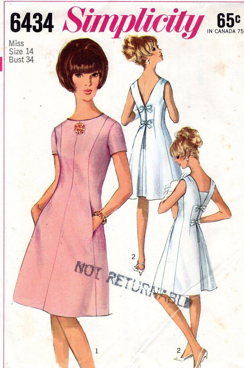 Simplicity 6434 Back Pleat Princess Seams Dress Uncut Size 14 Bust ...