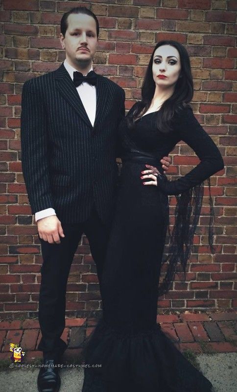 Diy funny clever and unique couples halloween costume ideas diy couples halloween costume ideas cool morticia and gomez addams family movie theme couple homemade solutioingenieria Images