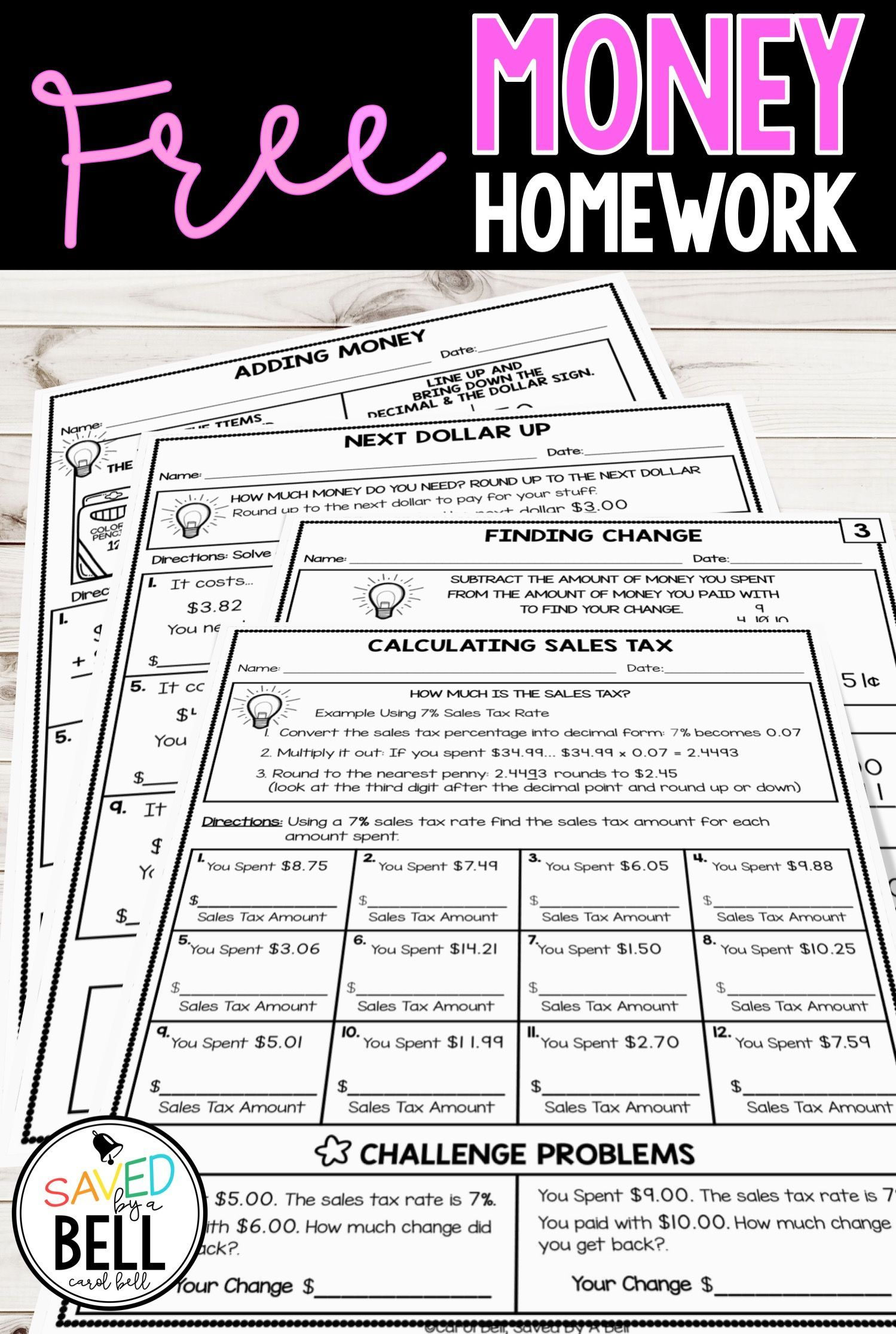 Free Money Worksheets Addition Subtraction Sales Tax And Next Dollar Up In 2020 Money Worksheets Money Math Real Life Math