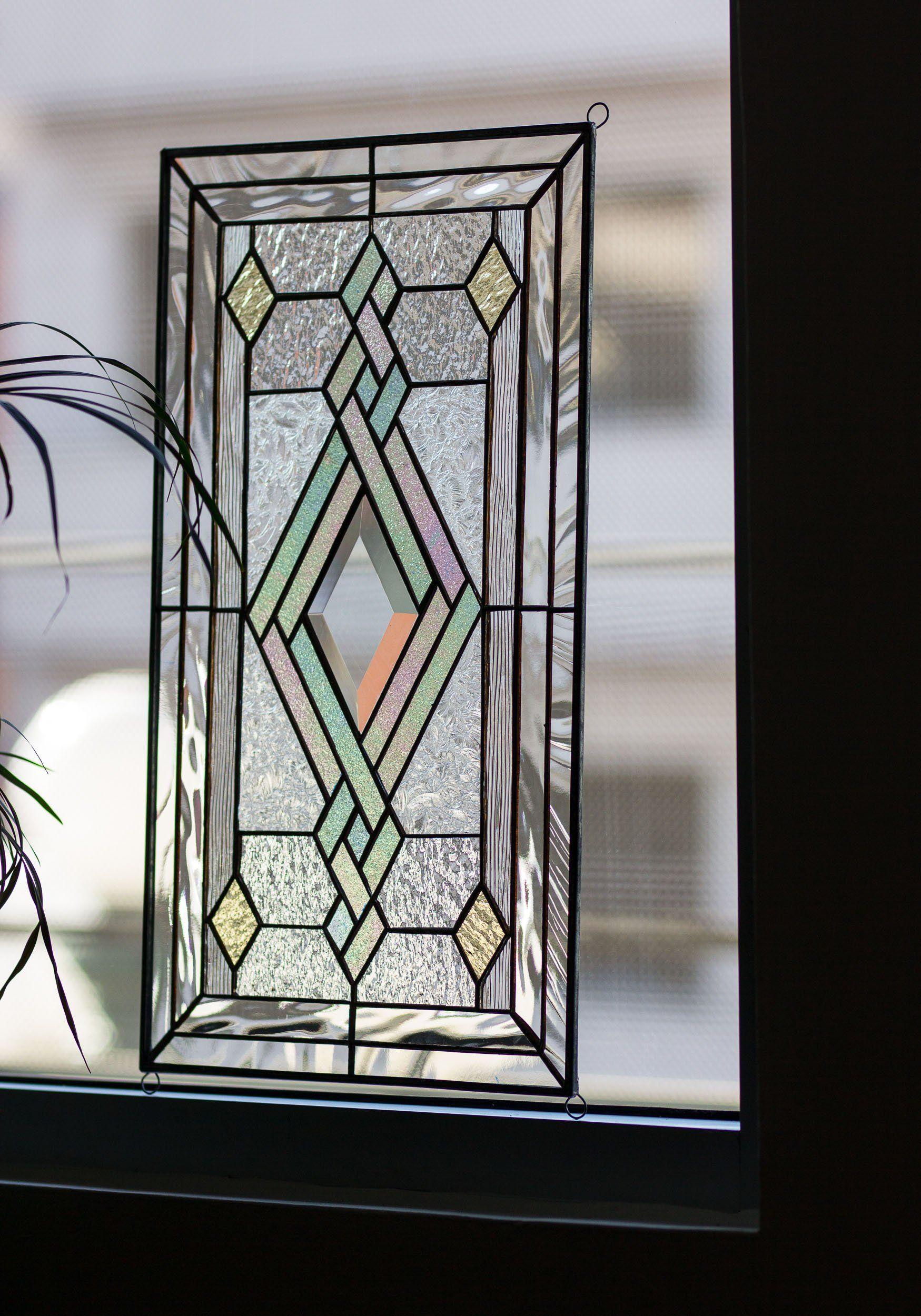 Tiffany Style Stained Glass Window Door Insert Beveled Diamond Iridiscent Swirls Elegance Stained Glass Diy Stained Glass Art Tiffany Glass Art