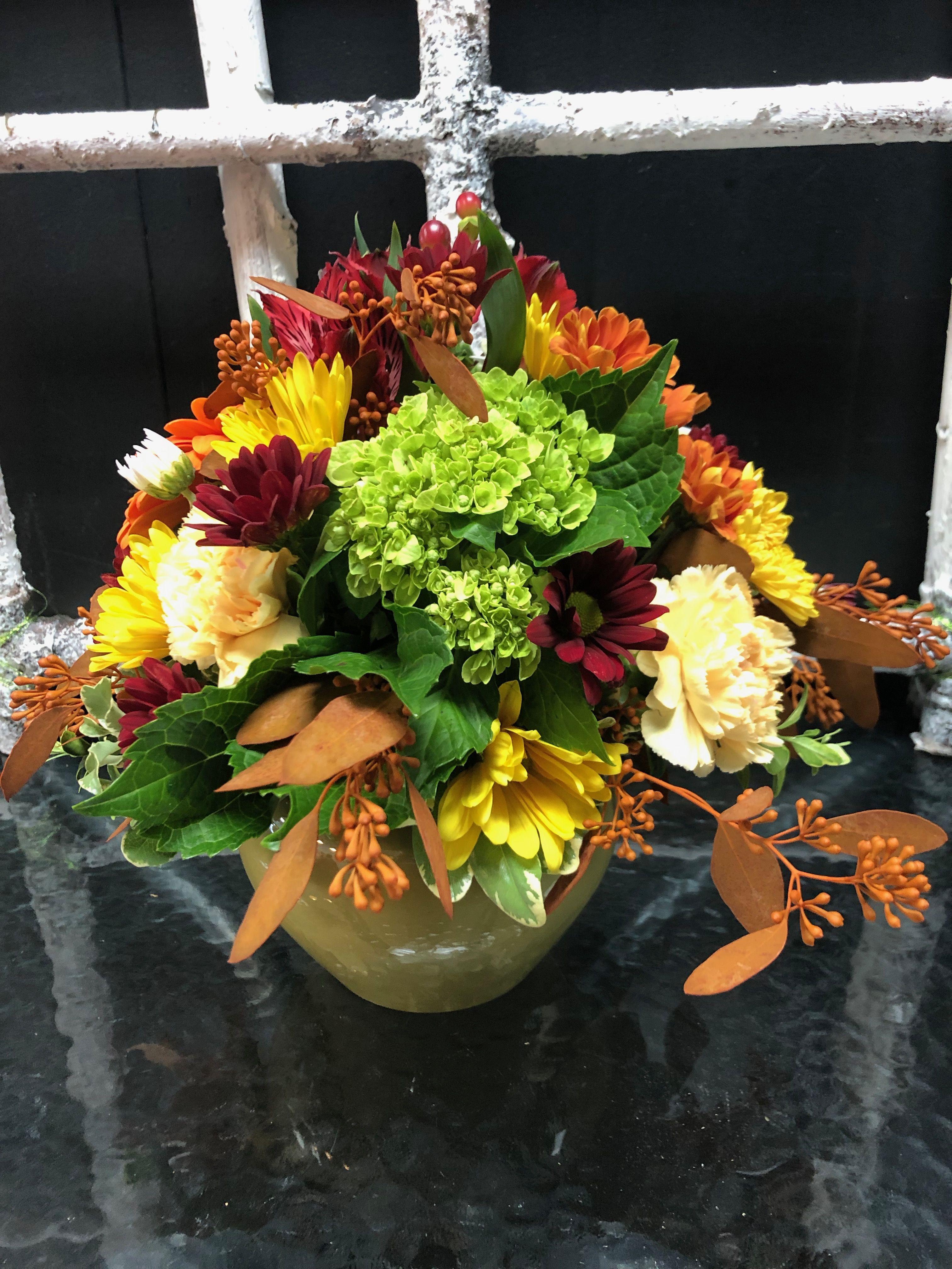 Fall arrangement fall arrangements green hydrangea