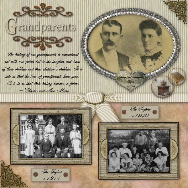 Grandparents ~ Nice use of multiple photos with a traditional design.