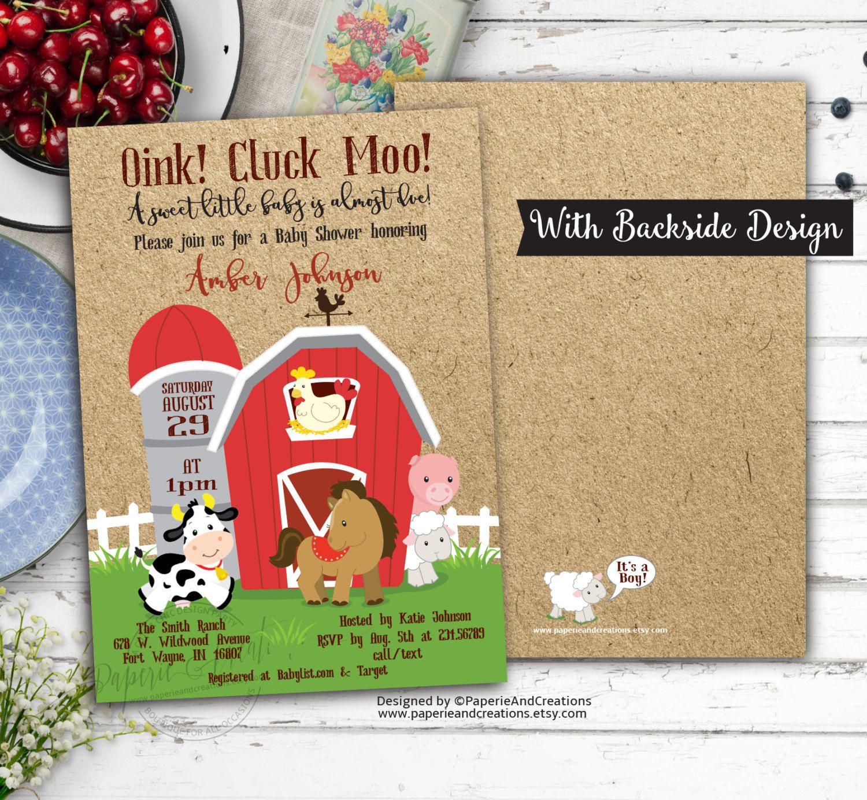 Farm Animals Baby Shower Invitation - Digital File - Barnyard ...