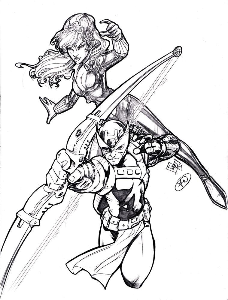 Hawkeye and Black Widow Black widow drawing, Black widow