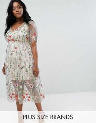 Elvi Floral Embroidered Dress Embroidered Dress Floral Embroidered Dress Trendy Plus Size Fashion