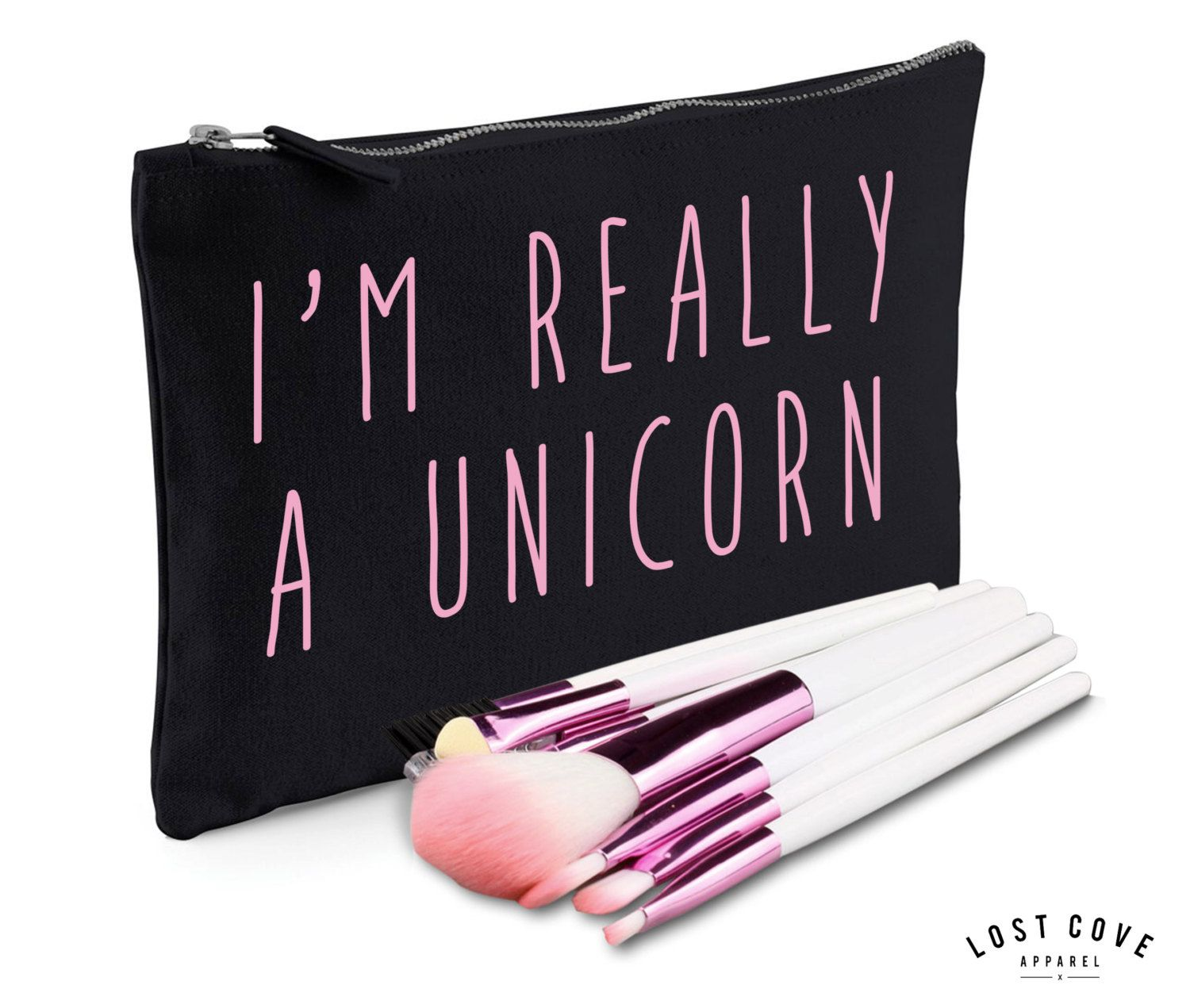 I'm Really A Unicorn Slogan Make Up Bag Case Makeup Gift Clutch Contents Pink (8.99 GBP) by LostCoveApparel