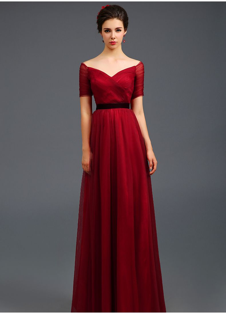 evening gown with sleeves Elegant Red Full Length Chinese Wedding ...