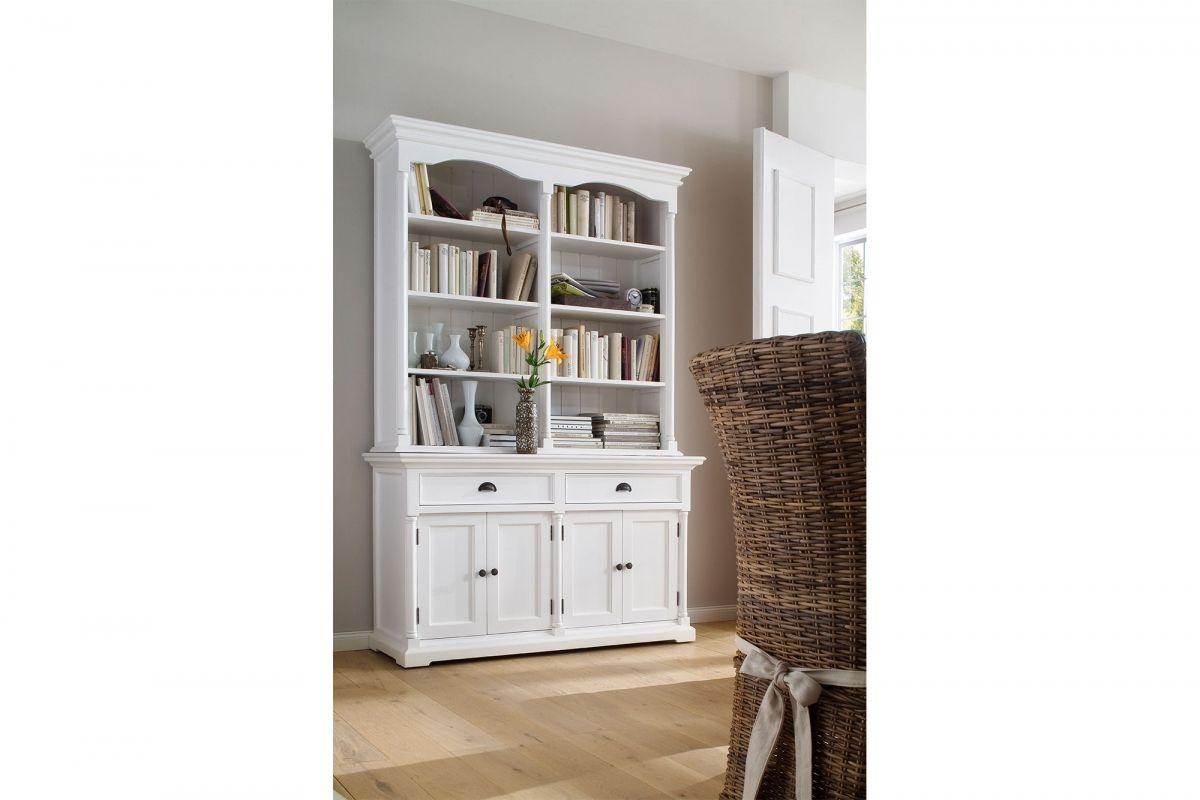Bücherschrank Provence im Landhausstil weiß mit 2 Schubladen und 4 ...