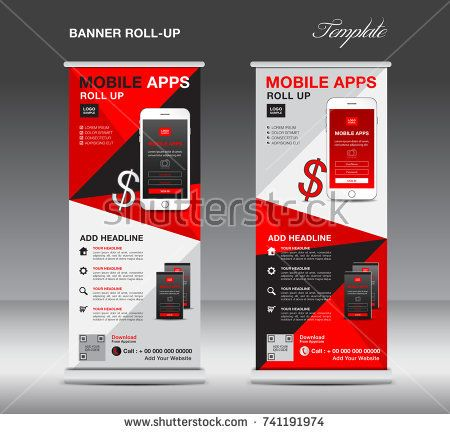 Mobile Apps Roll Up Banner Template Stand Layout Red Banner