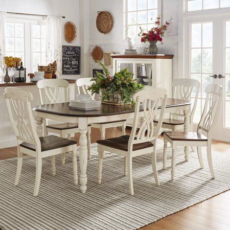 Weston Home Two Tone 7 Piece Dining Set Antique White Walmart Com Farmhouse Dining Table Farmhouse Dining Weston Home