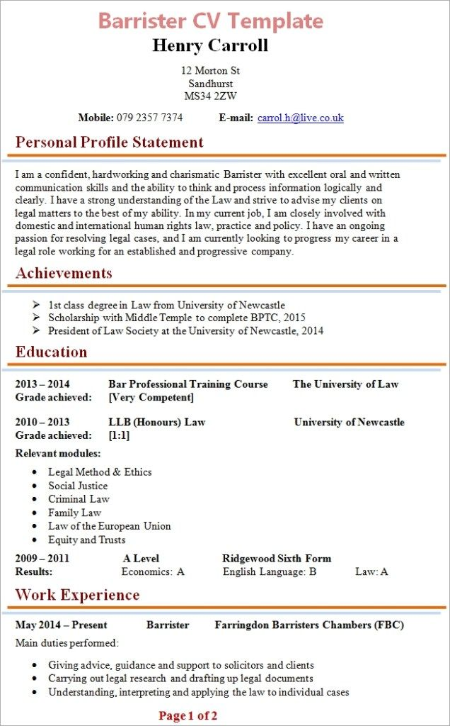 Cool Solicitors Cv Template Picture