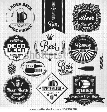 beer set lager vintage labels - stock vector