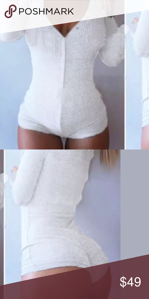 3731d9c80c White bodysuit romper one piece onesie pj cheeky Super soft stretchy comfy shorts  romper cheekybooty sexy lingerie long sleeve button snap ribbed bodysuit ...
