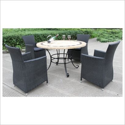 Sorrento 5 Piece Round Table Set Top Design A Sunlong Garden