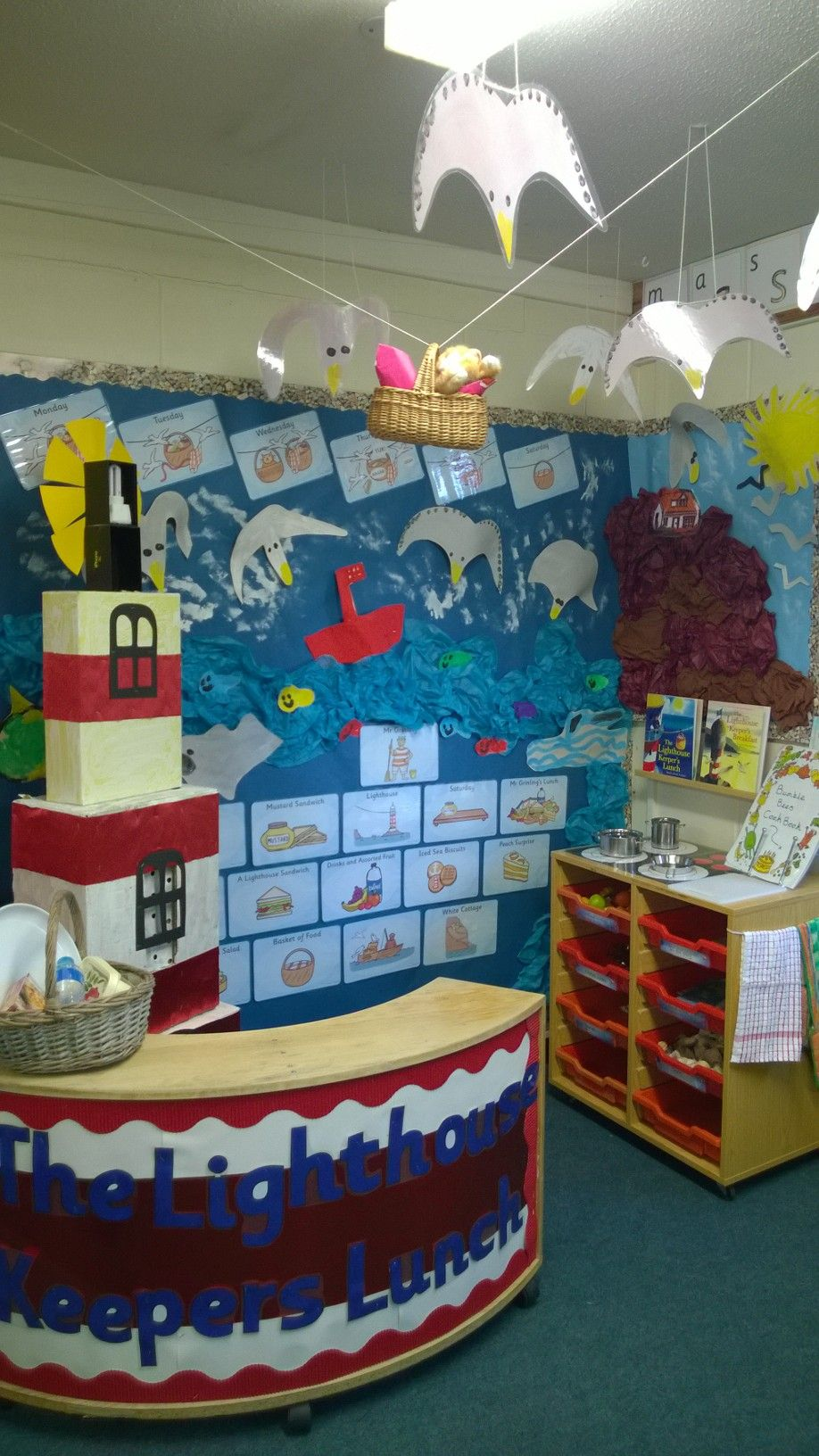 Role play area for The Lighthouse Keeper's Lunch for a year 1 class. Lighthouse, seagulls, boat, fish and sea creatures made and painted by the children.